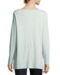 Eileen Fisher - Blue Slubby Organic Cotton Jersey Top - Lyst