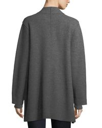 Eileen Fisher Gray High-collar Open-front Boiled Wool Coat