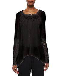 XCVI - Black St. Barts Tunic W/ Crochet Sleeves - Lyst