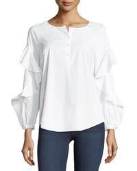 Splendid | White Crewneck Button-placket Ruffle-sleeve Poplin Shirt | Lyst