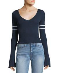 FRAME - Blue V-neck Long Bell-sleeve Merino Wool Sweater - Lyst