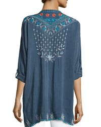 Johnny Was   Blue Spring Dolman Georgette Blouse W/ Embroidery   Lyst