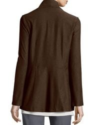 Eileen Fisher - Brown Long Washable Crepe Shawl-collar Jacket - Lyst