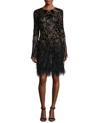 Monique Lhuillier - Black Beaded Long-sleeve Feather-skirt Dress - Lyst
