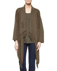 Pure Handknit - Green Fringe-front Open Cardigan - Lyst