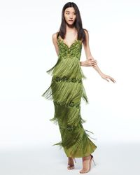Notte by Marchesa - Green Sleeveless Tiered Fringe Gown W/ Beaded Bodice - Lyst