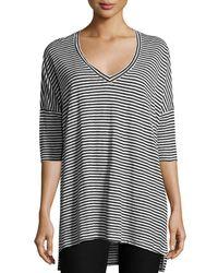 Eileen Fisher - Black Striped Organic Linen Jersey V-neck Tunic - Lyst