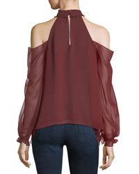 Likely - Red Sutter Cold-shoulder Chiffon Top - Lyst