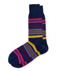 Paul Smith | Blue Multicolor Kew Stripe Socks for Men | Lyst