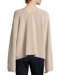 The Row | Natural Grisa Ribbed Scoop-neck Sweater | Lyst