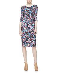 David Meister | Multicolor Long-sleeve Confetti Jersey Sheath Dress | Lyst