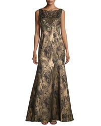 THEIA - Brown Sleeveless Embellished Metallic Gown - Lyst