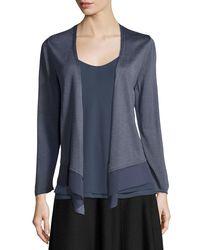 NIC+ZOE - Black Long-sleeve Knit Cardigan W/ Chiffon Trim - Lyst
