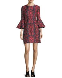 Trina Turk - Red Floral Jacquard Bell-sleeve Cocktail Dress - Lyst