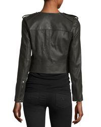 Joie | Black Zeno Cropped Leather Jacket With Fringe | Lyst