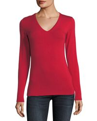 Neiman Marcus - Red Soft Touch Long-sleeve V-neck Tee - Lyst
