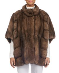 Gorski - Brown Round-collar Batwing-sleeves Sable Coat - Lyst