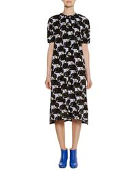 Marni - Black Short-sleeve A-line Printed Midi Dress W/ Pleating - Lyst