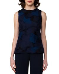 Akris - Blue Sleeveless Patchwork Petal Organza Blouse - Lyst