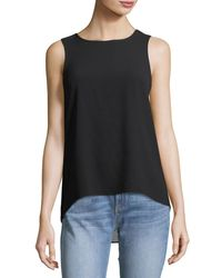 Rag & Bone - Black Harper Round-neck Sleeveless Crepe Top W/ Back Vent - Lyst