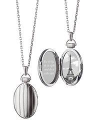 "Monica Rich Kosann - Metallic 1"" Pinstriped Silver Oval Locket Necklace - Lyst"