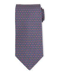 Ferragamo - Red Interlocking Gancini-print Silk Tie for Men - Lyst