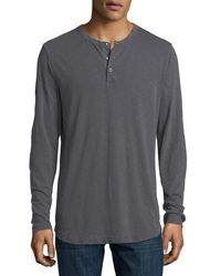 Theory - Gray Nebulous Long-sleeve Henley T-shirt for Men - Lyst