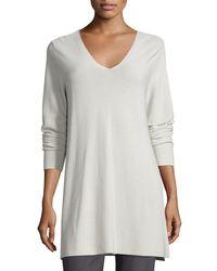 Eileen Fisher - Gray Crisp Cotton Links Long-sleeve V-neck Tunic - Lyst