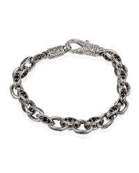 Konstantino | Metallic Men's Plato Sterling Silver Link Bracelet With Black Spinel for Men | Lyst