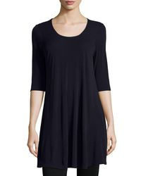 Eileen Fisher - Blue Half-sleeve Silk Jersey Tunic - Lyst