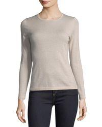 Neiman Marcus - Gray Modern Superfine Cashmere Crewneck Sweater - Lyst