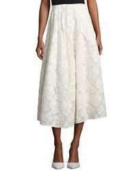Co. - White Floral Fil Upe A-line Tea-length Skirt - Lyst