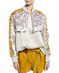 Valentino - Metallic Cropped Zip-front Sequin Paillette Jacket - Lyst