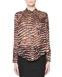 Tom Ford - Brown Animal-print Silk Blouse - Lyst