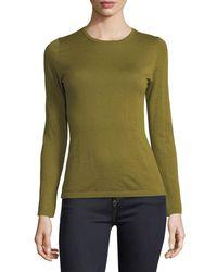 Neiman Marcus - Green Modern Superfine Cashmere Crewneck Sweater - Lyst