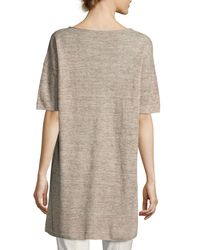 Eileen Fisher - Blue Lightweight Linen Melange Tunic - Lyst