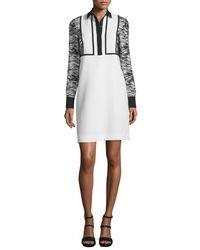J. Mendel   White Long-sleeve Collared Cocktail Dress   Lyst