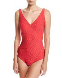 Gottex - Essence Textured Surplice One-piece Swimsuit - Lyst