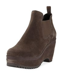 Pedro Garcia - Brown Faustine Suede Wedge Booties - Lyst