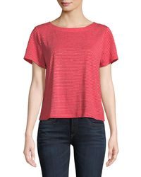 Eileen Fisher - Red Short-sleeve Mini-stripe Linen Jersey Tee - Lyst
