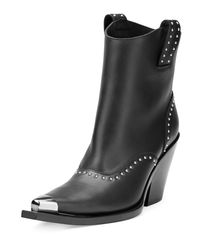 Givenchy - Black Studded Leather Western Boot - Lyst