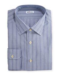 Kiton - Blue Alternating-stripe Dress Shirt for Men - Lyst