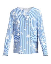 Altuzarra | Blue Carnegie Floral Striped Silk Tunic | Lyst