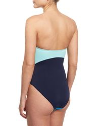 Diane von Furstenberg - Blue Barbados Colorblock Bandeau One-piece Swimsuit - Lyst