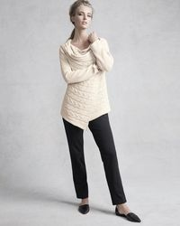 Pure Handknit - Natural Draped-neck Cable-knit Cardigan - Lyst