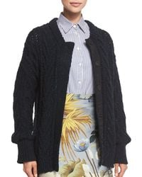 Adam Lippes - Blue Marled Cable-knit Long-sleeve Cardigan - Lyst
