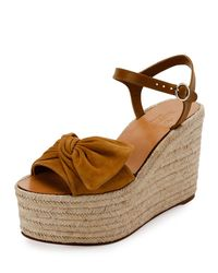 Valentino - Brown Tropical Bow Espadrille Wedge Sandal - Lyst