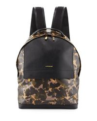 A.Testoni - Black Camouflage Leather Backpack - Lyst