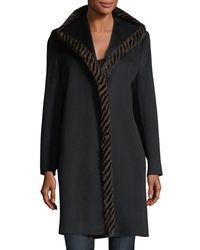Fleurette - Black Magnetic Wool Coat W/ Spiral Mink Fur - Lyst