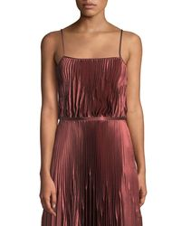 Vince - Red Pleated Square-neck Tank - Lyst